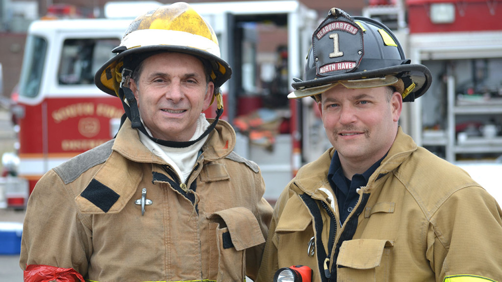 State Representative Dave Yaccarino (R-North Haven) and North Haven Firefighter Anthony DeSimone.