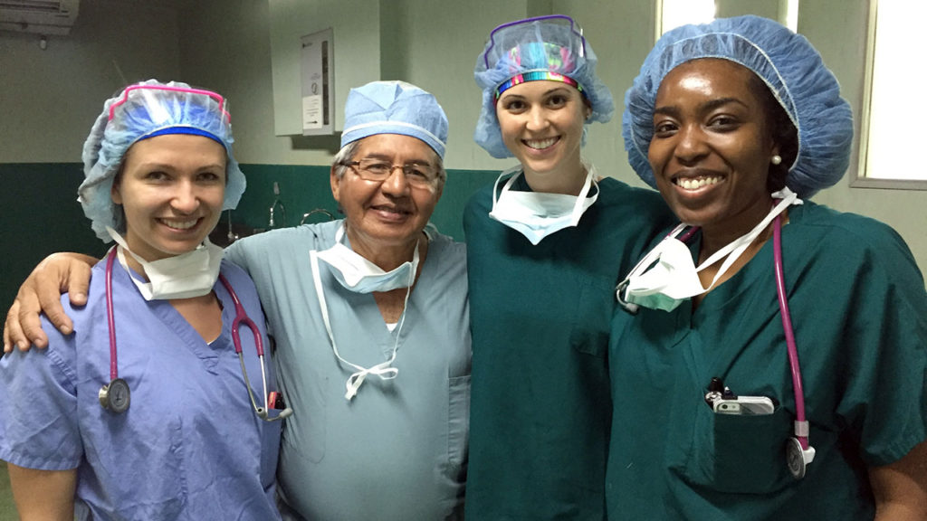 From left, Sarah McDevitt, Dr. Juan Salinas, Rachel Petree and Natalie Hutchinson. McDevitt, Petree and Hutchinson are doctoral students in the nurse anesthesia track at the Quinnipiac University School of Nursing. They traveled to Leon, Nicaragua from March 12-19, where they provided care and gave anesthesia to patients in the city hospital. (Photo by Karita Kack of the Quinnipiac University School of Nursing.)