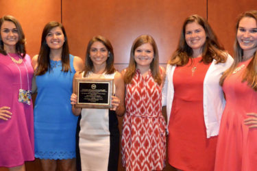 Quinnipiac University's Future Teachers Organization won the Local Excellence Award June 30 at the National Education Association Student Leadership Conference in Washington, D.C. The Quinnipiac students who accepted the award were, from left to right, Luciana Fohsz of Kings Park. N.Y., Diana Mikelis of Scarsdale, N.Y., Nina Burns of Norwell, Mass., Kayla Thomson of Plantsville, Sami Paradee of Lawrence Township, N.J. and Becky Folz of North Branford.