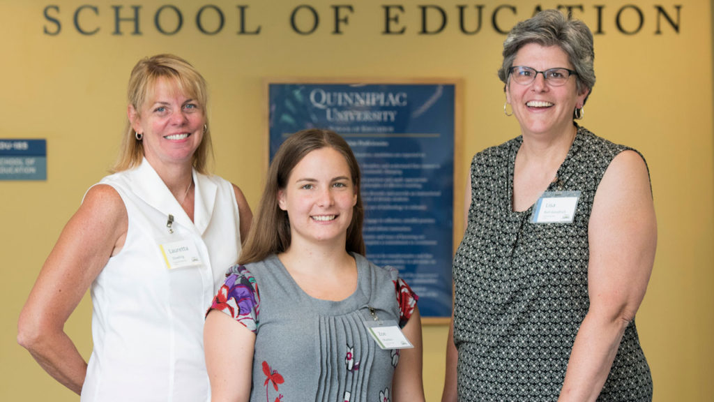North Haven teachers, from left, Lauretta Dowling, Zoe Madden and Lisa Ball-Goodrich, recently participated in a Quinnipiac University program to enhance their lessons using the Next Generation Science Standards. (Autumn Driscoll /Quinnipiac University).