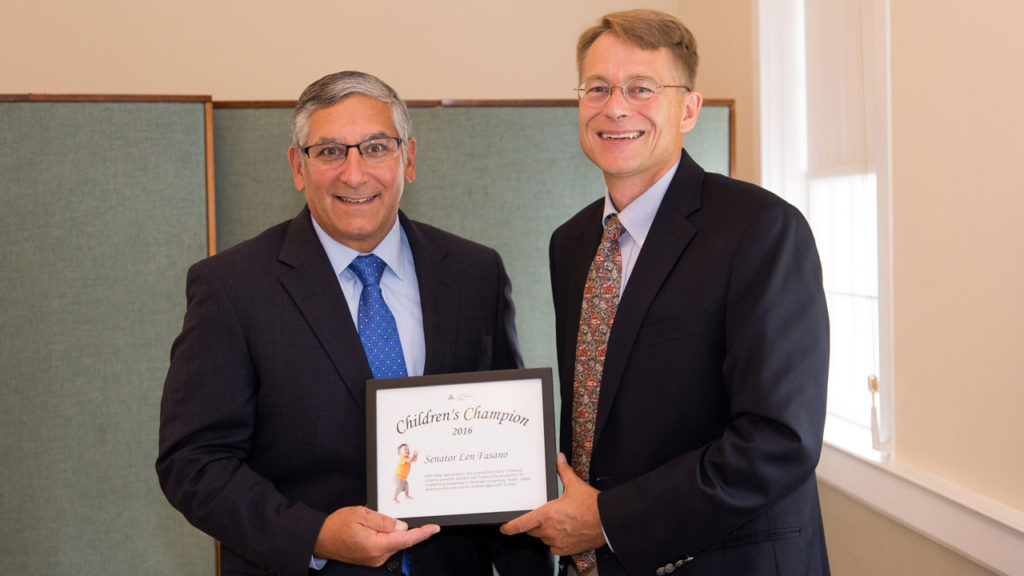Sen. Len Fasano and Executive Director of the Connecticut Early Childhood Alliance Executive Director Merrill Gay.